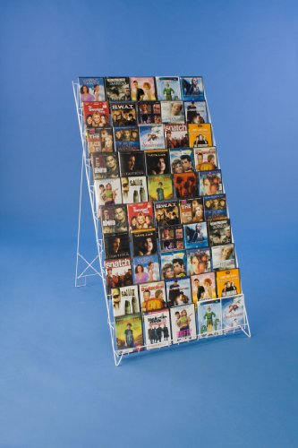 Displays2Go Tiered White Wire Rack To Display Brochures, Books, Cds Or Other Materials, 29 X 49 X 28-3/4 Inches, Free Standing Floor Fixture With 3 Sign Clips (Wrf10T29Wt)