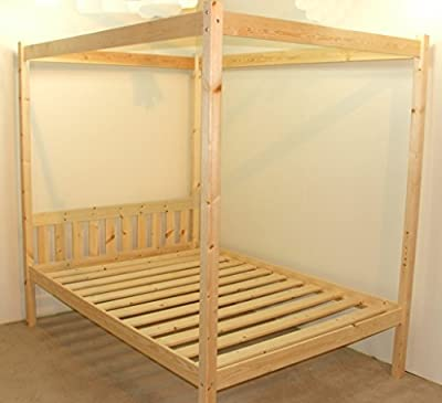 Four Poster Bed - 5ft kingsize solid natural pine 4 poster bed frame - Extra wide base slats with centre rail