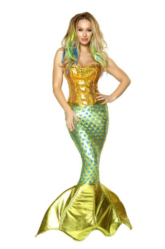 Roma Costume 2 Piece Siren Of The Sea As Shown, Gold/Turquoise, Large