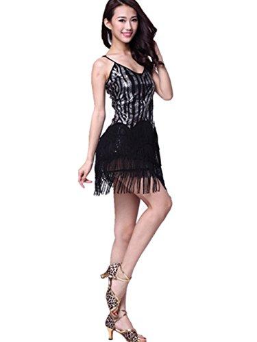 Womens Ladies Latin Dance Sling Tops + frange Gonna Ballo Abito Prom Standard da indossare Black-Silver Taglia libero