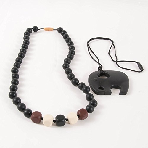 Sassy Baby Beads Chew Teething Beads Necklace And Elephant Teether Set -S'Mores