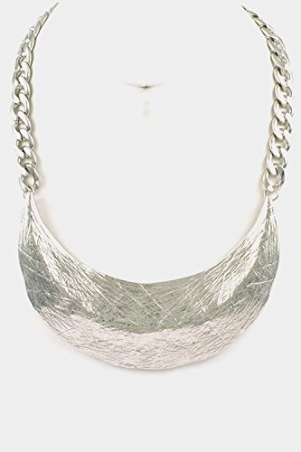 Trendy Fashion Jewelry Rugged Metal Single Plate Bib Necklace By Fashion Destination | (Rhodium)