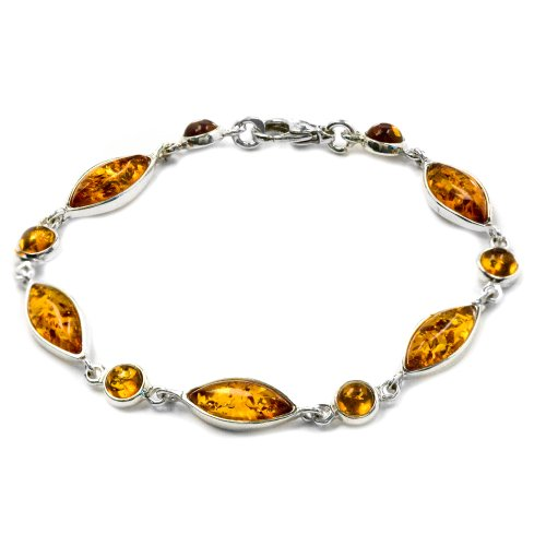 Certified Genuine Amber Sterling Silver Contemporary Marquise Shape Bracelet 18cm