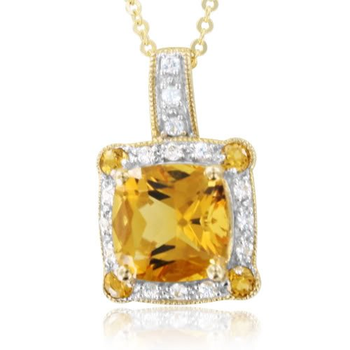Cushion Cut Natural Citrine and White Sapphire Necklace in 10k Yellow Gold, 2.45 cttw