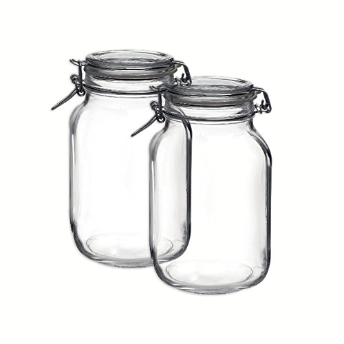 Bormioli Rocco Set OF 2 Bormioli Rocco Fido Square Jars With Clear Bail And Trigger Lids,67-3/4-ounc (Glass Clamp Lid compare prices)