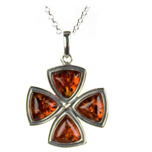Honey Amber and Sterling Silver Maltese Cross Pendant, 18