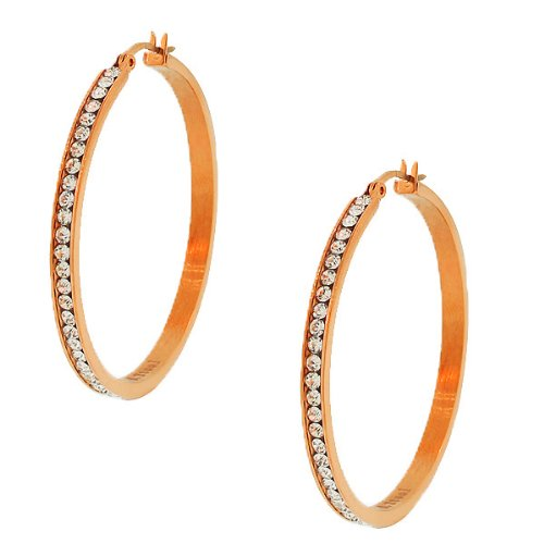Stainless Steel Rose Gold Tone White Crystals Cz Womens Classic Hoop Earrings (1.77 Inches)