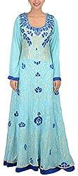 Simple Kaur Women's A-Line Dress (simplekaur_0009--m, Blue, Medium)