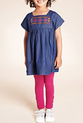 2 Piece Cotton Rich Embroidered Tunic & Leggings Outfit [T77-8404N-S]