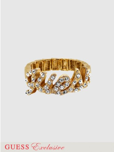 GUESS Pave Logo Stretch Ring, GOLD