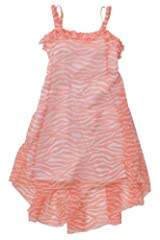 Kate Mack Girl's 7-16 Tahitian Sunset Chiffon Dress in Coral