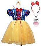 しあわせ倉庫子供コスプレ白雪姫仮装衣装ドレスハロウィンクリスマス林檎のネックレスセット110〜(100�p)