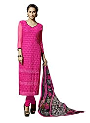 Suchi Fashion Embroidered Pink Georgette Dress Material