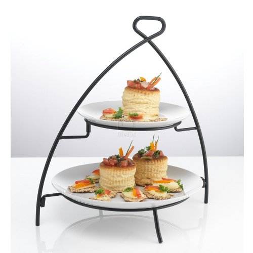 WHITE ESSENTIAL 2 TIER METAL PLATE WITH RACK