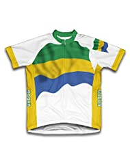Gabon Flag Short Sleeve Cycling Jersey for Women