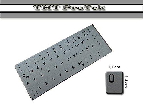DEUTSCHE DE Tastatur Aufkleber 48 Tasten - Farbe: Silber - für Medion Akoya MD95007 / MD95020 / MD95022 / MD95092 / MD95155 / MD95309 / MD95520 / MD95600 / MD95976 / MD96059 / MD96085