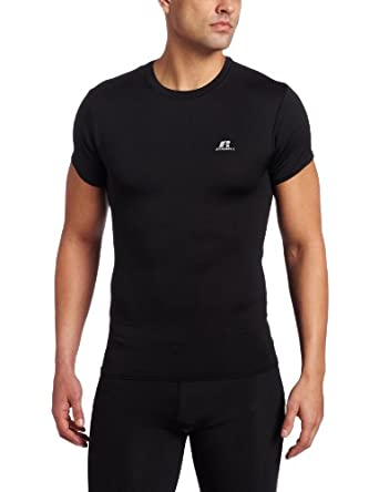 Russell Athletics Men's Compression Short Sleeve Top, Black, Large
