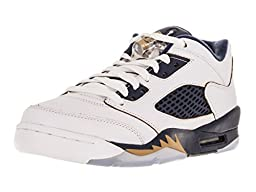 Nike Jordan Kids Air Jordan 5 Retro Low (GS) White/Metallic Gold/Mid Navy Basketball Shoe 7 Kids US