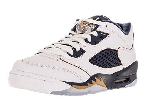 Nike Jordan Kids Air Jordan 5 Retro Low (GS) White/Metallic Gold/Mid Navy Basketball Shoe 5 Kids US