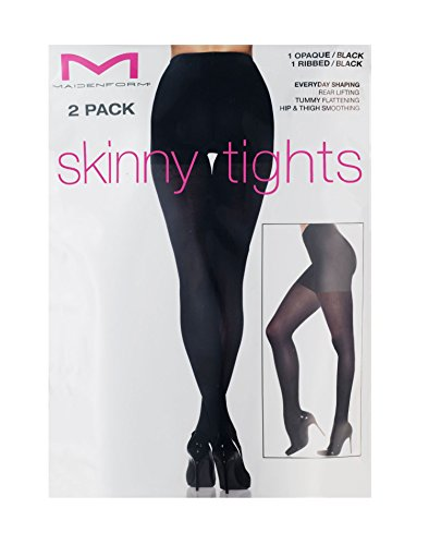 Maidenform Women's Skinny Opaque Ribbed Tights, Sculptz Black, Small/10