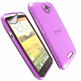 Transparent Gel Case Cover Shell And Screen Protector For HTC One X One X+ / Purple