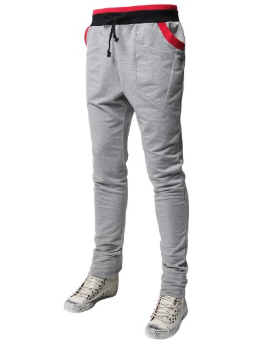H2H Mens Baggy Sweatpants Kmp07 Gray Xl front-251318