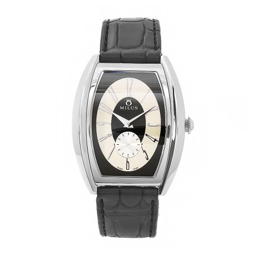 Milus Men's AGE005 Agenios Handwinding Automatic Black Dial Beige Accent Watch