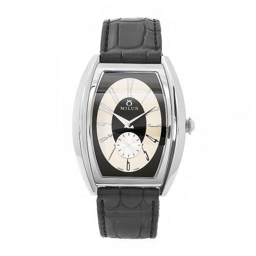Milus Men's AGE005 Agenios Handwinding Automatic Black Dial Beige Accent Watch