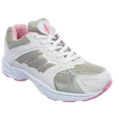 Womens Pink White Gym Running Trainers Shoes Size 3