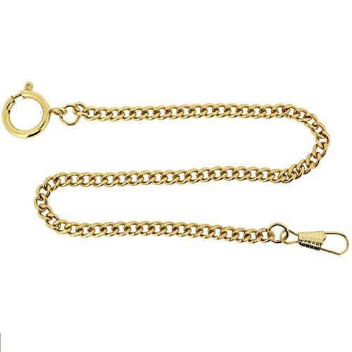 "Pocket Watch Chain Fob Curb Link Design Gold-Tone 14"""