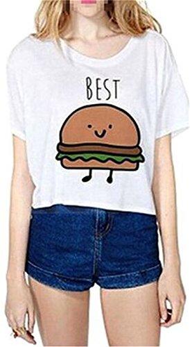 Fourling T-shirt estate del fumetto di stampa Amburgo Patterned camicia a maniche corte T-shirt Camicia a maniche corte signore delle donne della maglia migliori Camicetta (Bianca) -S(EU 32) - per One