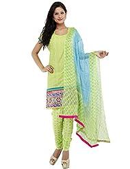 Utsav Fashion Women's Green Cotton Readymade Churidar Kameez-Large