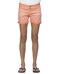 Ixia Women's 100% Cotton Lycra Peach Full Embroidered Shorts(LISR302PEACH_38)