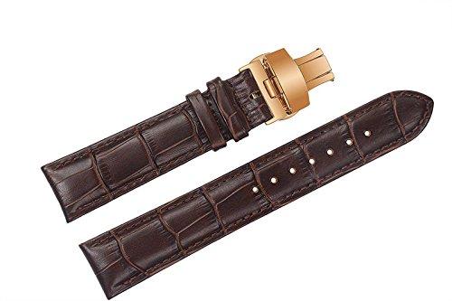 23mm degli uomini marroni deluxe cinturini in pelle / cinghie sostituzioni semi-opaco imbottito con chiusura di distribuzione rosa d'oro