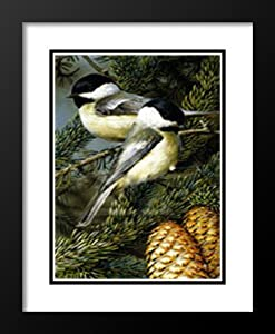 "Carl Brenders Framed and Double Matted Art Print 25x19 ""Chickadees"""