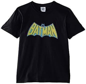 """DC Comics Boys Official Batman Retro Logo Crackle Kids T-Shirt, Black, 12-13.5 (Manufacturer Size:34/36"""" Chest)"""