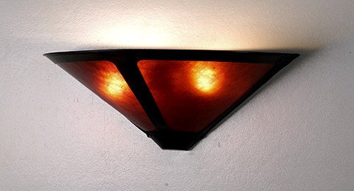 Meyda Tiffany 67968 Craftsman / Mission Wall Washer Sconce From The Dirk Van Erp, Amber Mica