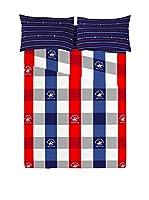 Beverly Hills Polo Club Juego De Sábanas Boston (Rojo / Azul Marino / Gris)