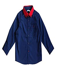 Campana Solid Navy Full Sleeve Shirt For Boys