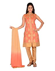 Ritu Creation Women's New Silk Stitched Chudidar Suit With Front Cut And Embroided Work(Orange)