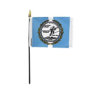 "Korean War Veterans 1950 - 1953 Hand Held Desk Table Top Polyester Flag 4"" X 6"" on 10"" Black Plastic Staff with Gold Spear Tip (12 Pack)"