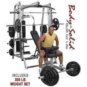 ウエイトトレーニングフルセット!Body Solid シリーズ 7 スミスマシン w/227kg ラバーグリップオリンピックウエイトセット GS348QP4_OSR500S