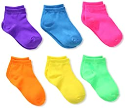 Jefferies Socks Little Girls\'  Low Cut Socks (Pack of 6), Neon Solid, Toddler