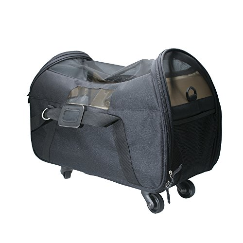 Airline Approved Pet Carrier – Brown Travel Carrier with Wheels and Soft Sides For your Small Sized Pets and Animals By WPS