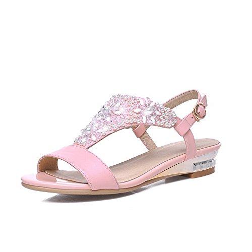 aalardom-womens-open-toe-low-heels-soft-material-solid-buckle-sandals-pink-39