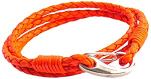 Tribal Steel Neon Orange Double Wrap Leather Bracelet for Men with SS Shrimp Clasp of 21cm