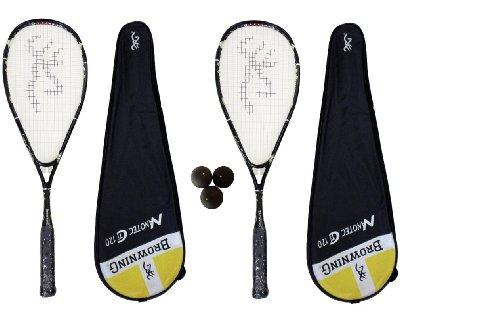 2 x Browning Nanotec Ti 120 Yellow Squash rackets x 3 x Dunlop Squash balls RRP £570
