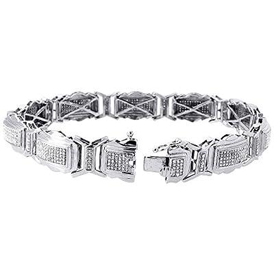 10K White Gold Round Cut Diamond Pave Link Bracelet 1.50 Cttw