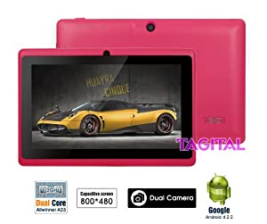 """Tagital® 7"""" Android 4.2 Capacitive Touch Screen Tablet PC Dual Camera Pink (Updated Version)"""
