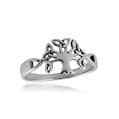 Sterling Silver Trinity Knot Celtic Tree of Life Ring